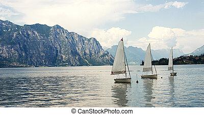 lago montanha, paisagem, em, itália