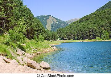 lago montanha, verão