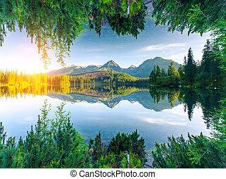 lago, montanhas