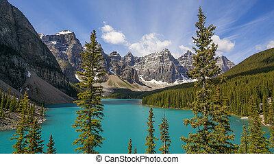 lago moraine, em, parque nacional banff