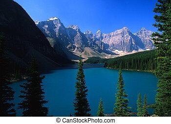 lago morraine, parque, nacional, banff