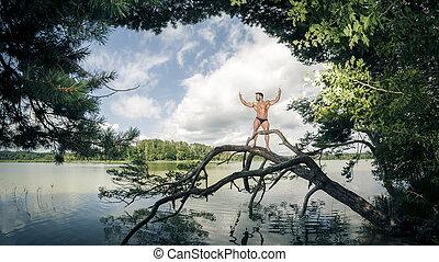 lago, muscolare, uomo