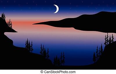 lago, notte, scenario