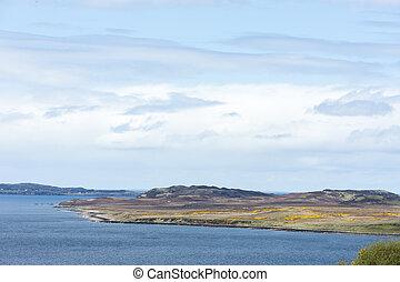 lago, oveja, tierras altas, escocia