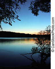 lago, pôr do sol, 3