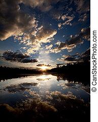 lago, pôr do sol