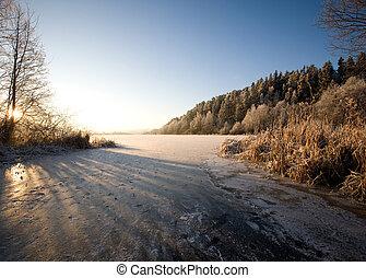 lago, paesaggio, in, inverno