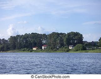 lago, paisagem, com, casas, e, pinho, florestas