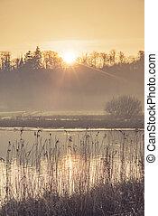 lago, paisagem, em, a, manhã, sol, com, névoa
