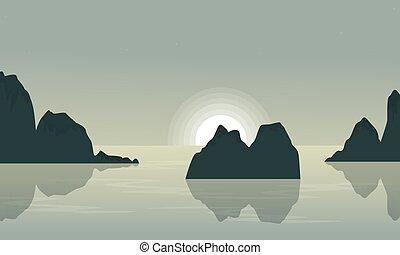 lago, paisagem, rocha