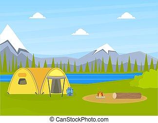 lago, paisagem, verão, montanhas, turista, vetorial, ilustração, barraca, aventuras, natural