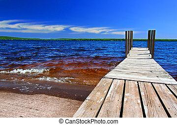 lago, paisaje, gogebic