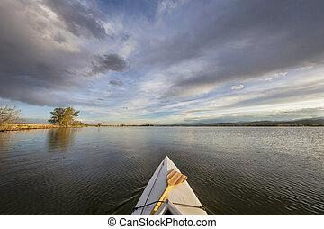 lago, paleta, canoa