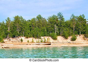 lago, pedras, costa, imaginado