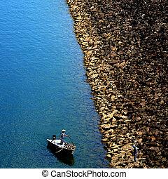 lago, pescador