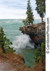 lago, por, ondas, michigan, costa
