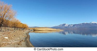 lago, prespa, em, macedonia, em, inverno