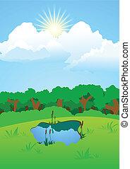 lago, radura, foresta