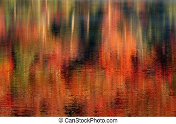 lago, reflexões, de, outono