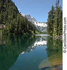lago, regione selvaggia, alpino