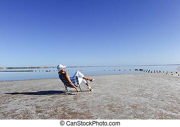 lago, relaxado, austrália, outback, mulher