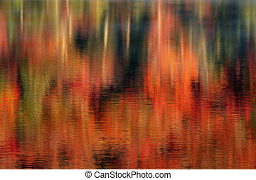 lago, riflessioni, di, autunno