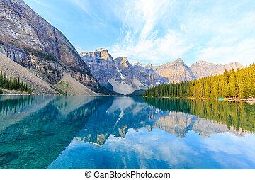 lago, rockies, moraine, canadiense