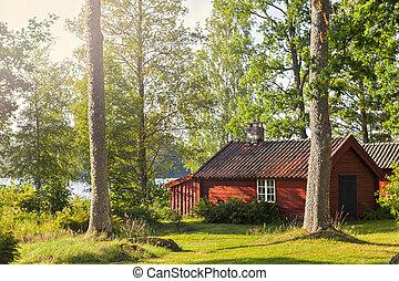 lago, rojo, casa, madera