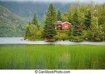 lago, rojo, colinas, árboles, casa, noruega, foto, pie