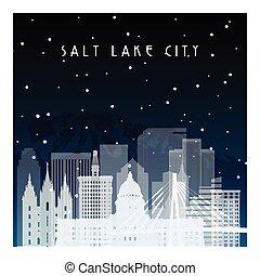 lago salgado, city., inverno, noturna