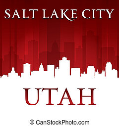 lago salgado, fundo, cidade, utah, vermelho, silueta