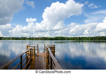 lago, shore., estate, paesaggio., finland.