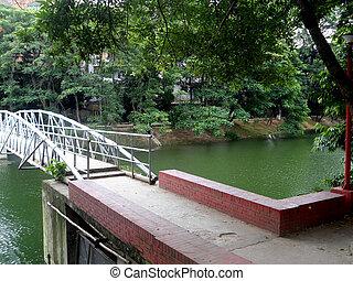 lago, sopra, ponte