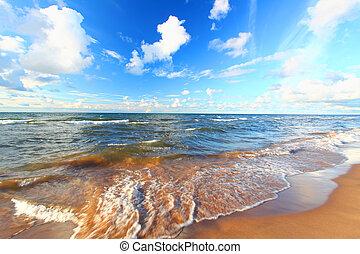 lago superiore, spiaggia, michigan