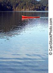 lago, vazio, canoa