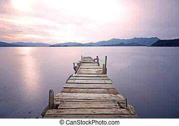 lago, viejo, embarcadero, sendero, muelle