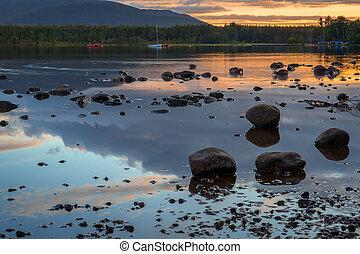 lago, vista, morlich, anochecer