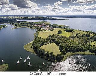lago, wigry, nacional, park., suwalszczyzna, poland., água...