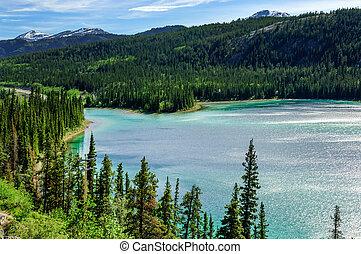 lago, yukon, esmeralda