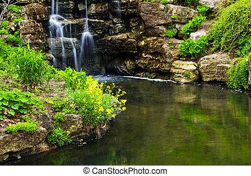 lagoa, cachoeira, cascading
