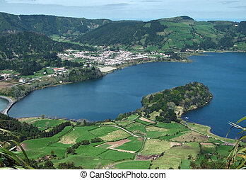 """high angle view with part of a lake named """"Lagoa das Sete Citades"""" at Sao Miguel Island"""