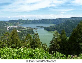 """lake named """"Lagoa das Sete Citades"""" at ao Miguel Island S"""