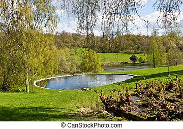 lagoa, em, um, bonito, panorâmico, natural, paisagem