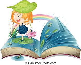 lagoa, imagem, livro, menina