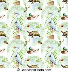 lagoa, -, pântano, desenho, padrão, lago, seamless, aquarela