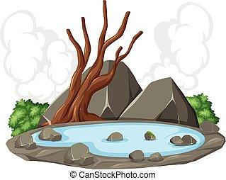 lagoa, rocha, cena, natureza