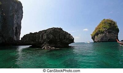 Lagoon among the rocks in the way to Maya bay. Phi Phi...