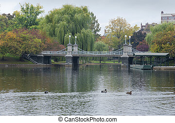 Lagoon Bridge at the Boston Public Gardens in Boston, Massachuse