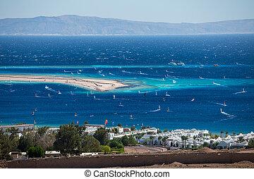 Dahab - Lagoon full of windsurfers in the town of Dahab, ...