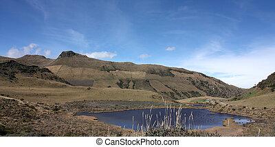 lagoon., pretas, paisagem, andino